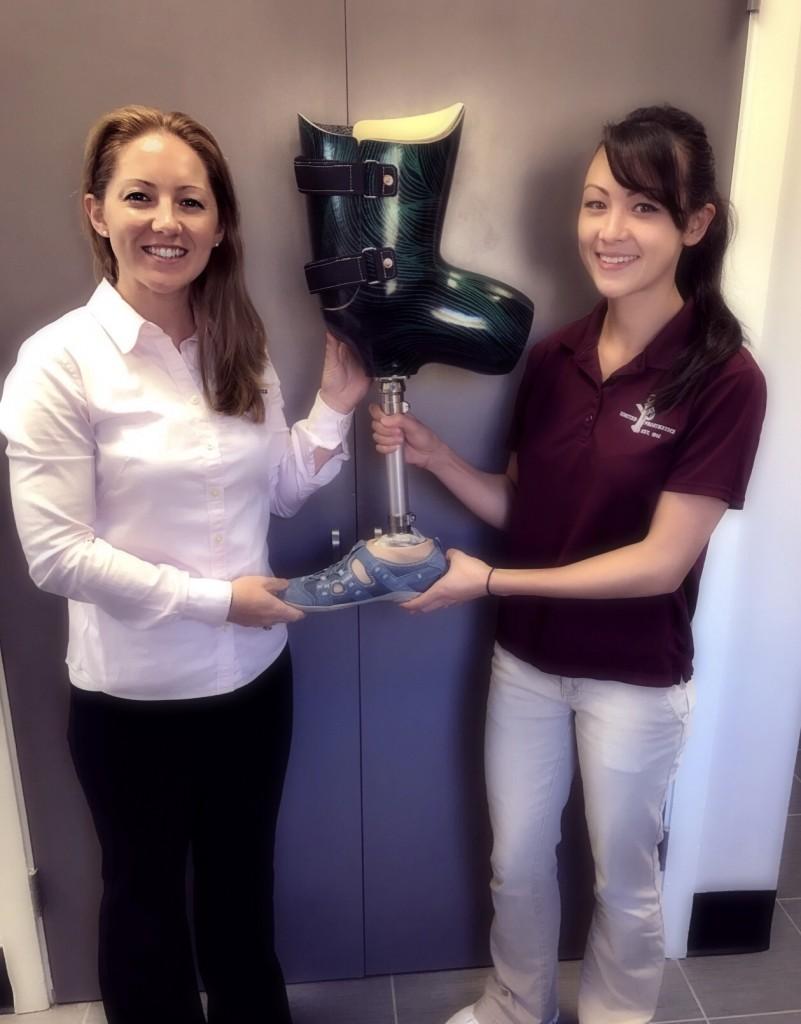 Jules & Ashley Modeling A Bent Knee Prosthetic Design