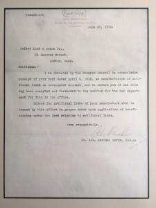 War Department in 1916 note